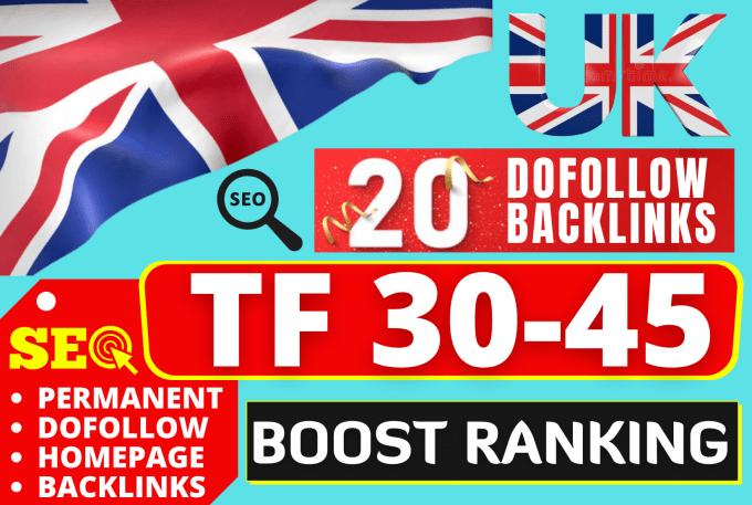 I will create 10 High TF 30+ UK Backlinks SEO backlinks from UK sites