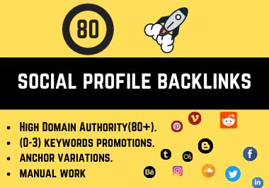 Rank on Google with 80 Social Profile Backlinks.
