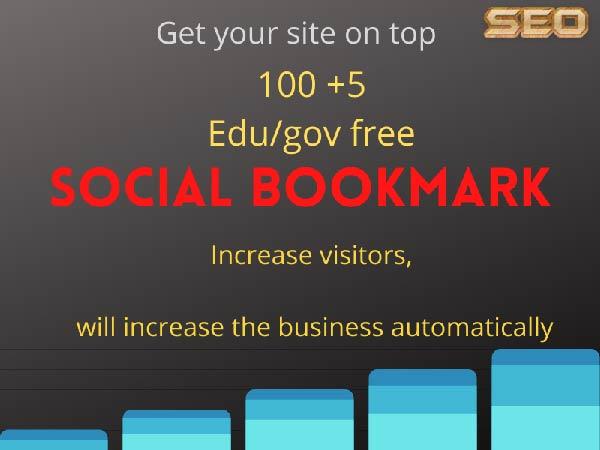 Manually provide 100 Social bookmarks and Extra bonus 5 Edu/gov backlinks get more traffic