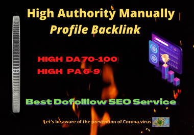 30 Profile Backlinks High authority manual Permanent dofollow white hat seo link building