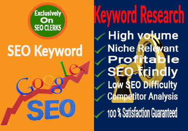 I will do 200 SEO keyword research to targeted niches for Google's top ranking.