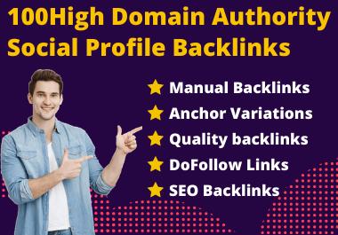 I will create 100 high authority social profile backlinks