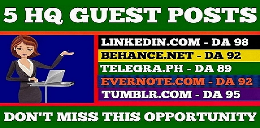 Write & publish 5 Guest Post On 90 da sites with permanent backlinks