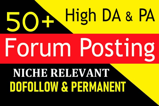 provide high da 50 plus forum posting dofollow backlinks