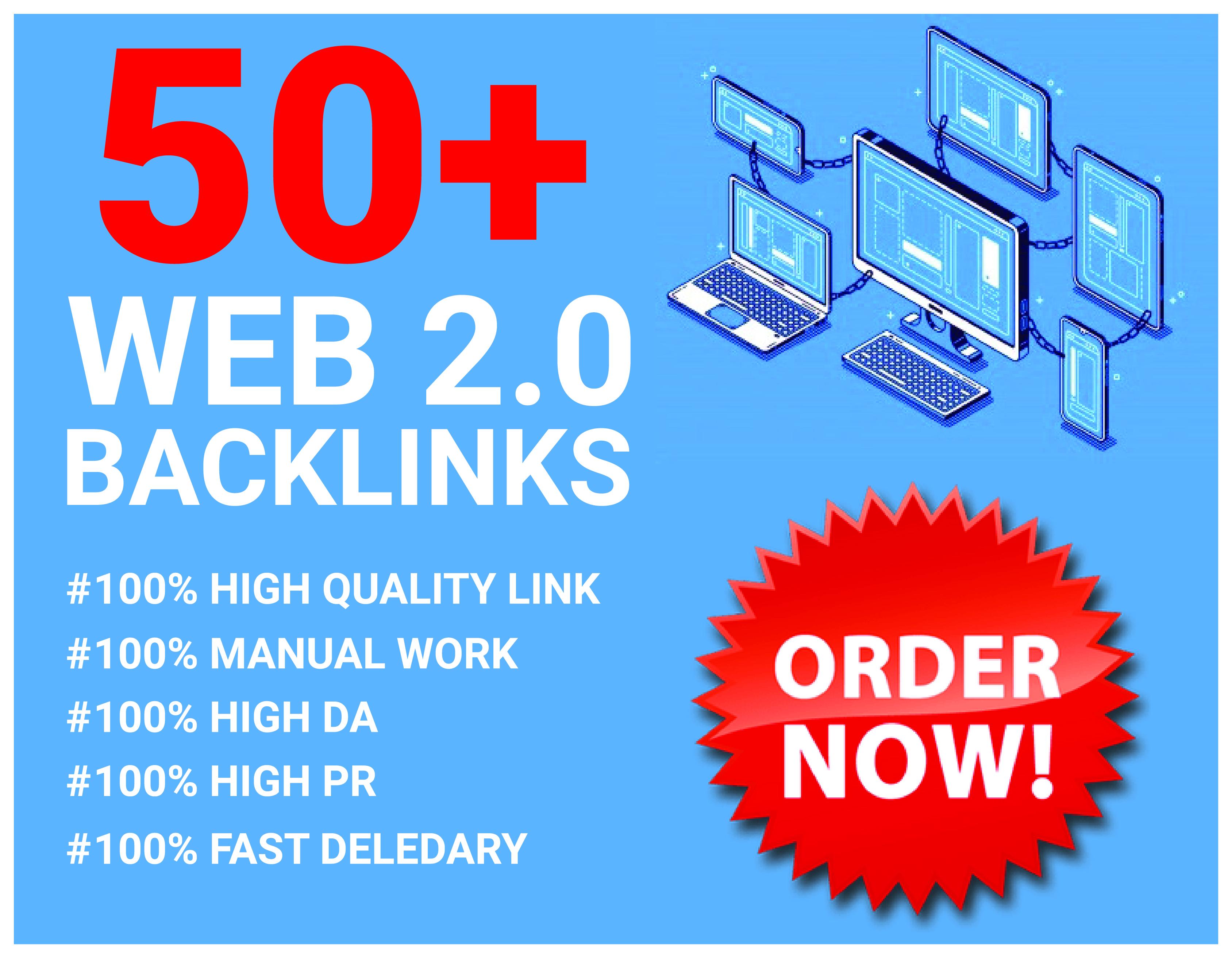 HQ 50+ DA/SA WEB 2.0 Backlinks For Ranking