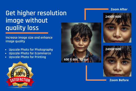 I will increase your images size and enhance photos resolution without quality loss 5 images