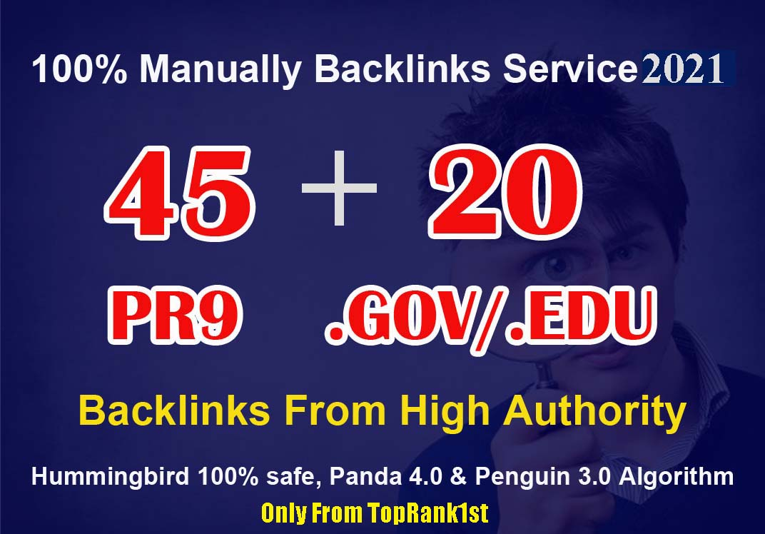 45 PR9+ 20 EDU-GOV Backlinks From Authority Domains for SEO RANK