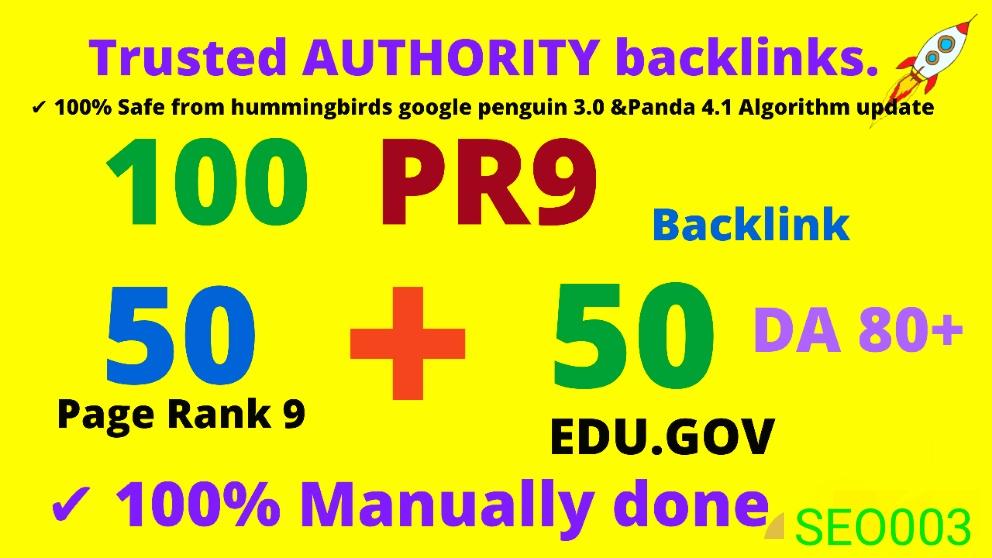 CREATE top Google rank WEB2.O DA80+100 Backlinks 50 PR9+50 EDU High Quality SEO Permanent Links