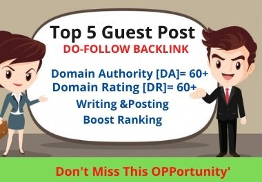 5 Guest Post 5 Different Websites Push your website Google 1st Page