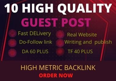 I will writeing articles 400+ words and publish 10 guest post on da 20-90 google site