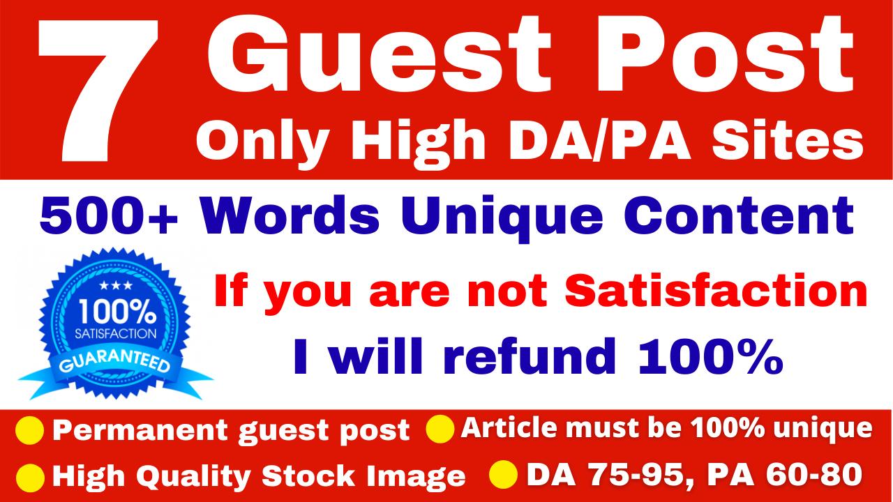 7 Guest Posts Service on High DA PA Sites With Reddit Medium Diigo Behance Linkedin Evernote Quora