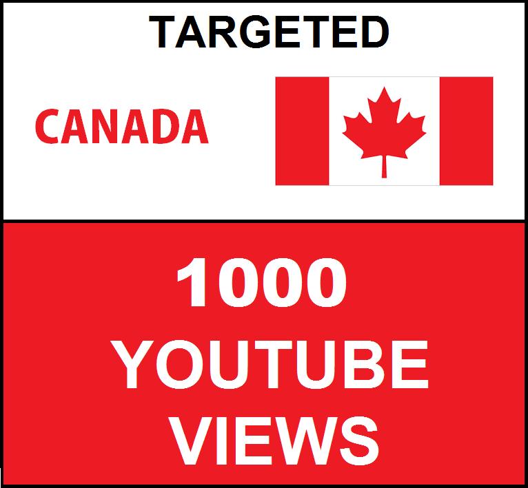 Added 1,000 Canada Geo Targeted youtube video boosting