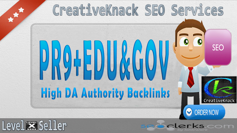 40+ PR9 Backlinks with 10+. EDU/. GOV Authority Backlinks only
