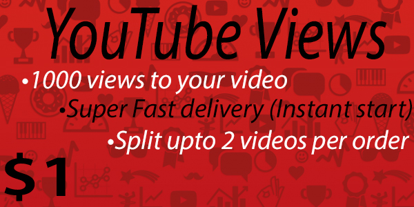 1000 - 1500 views to your Youtube video [Super Fast delivery]