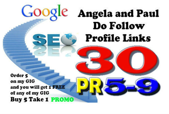 create VERIFIED 30 Angela and Paul Profile Links PR5 to PR9 for Fast Indexing