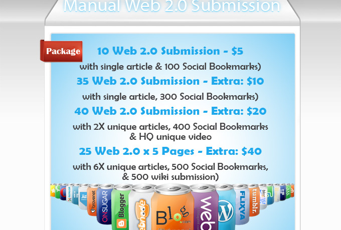 provide Manual Web20 Blog Writing and Submission Serv...
