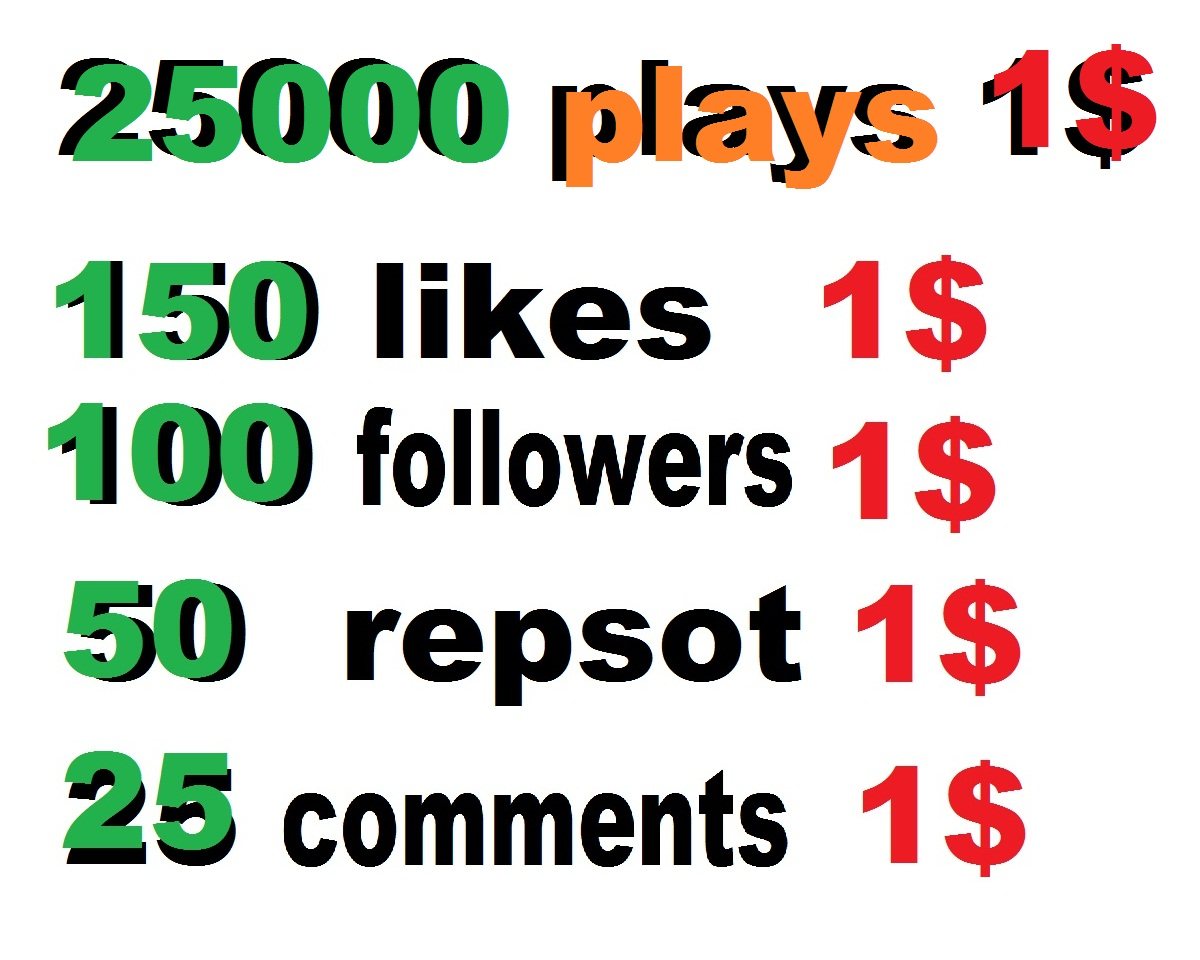 25000 soundcloud plays or 100 likes or 50 repost or 25 comments within 24 hour