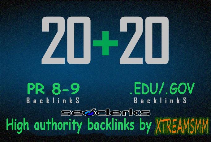 Give you 20 PR 8-9 authority profile+20. EDU/. GOV backlinks