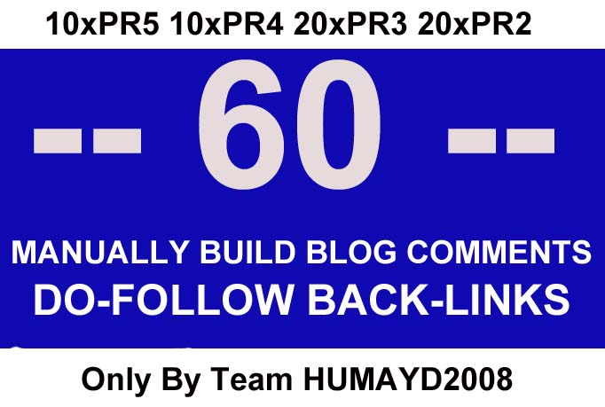 i will MANUALLY build 60 Highpr Dofollow Blog Comment UNIQUE backlinks