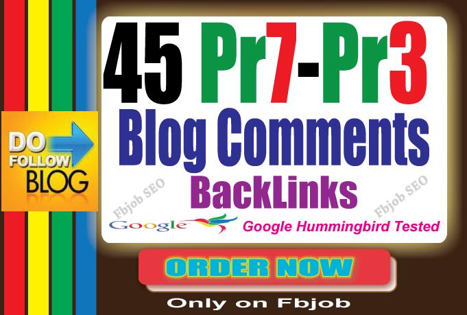 45 Dofollow Blog Comment Backlinks Pr7 to Pr3 SEO Technique 2015