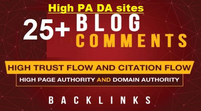 25 PBN Blog Comment dofollow Backlinks