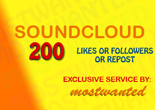 200 SOUNDCLOUD LIKES / REPOST / FOLLOWERS