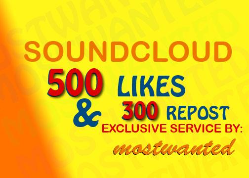 SOUNDCLOUD 500 LIKES AND 300 REPOST SPLIT UPTO 10 TRACKS
