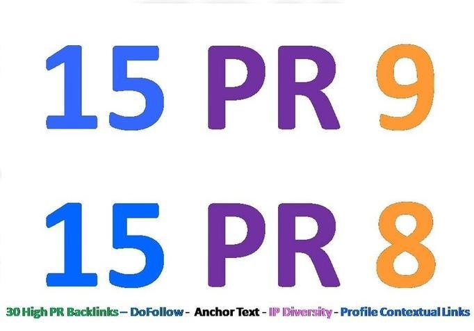 Supply 30 PR8 or above backlinks for your websites