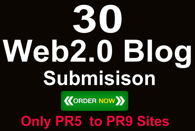 Create 30 Do Follow White hat PR9 Web 2 Blogs with di...