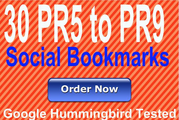 Provide 30 Social Bookmarking backlinks using PR5 to PR9 domains