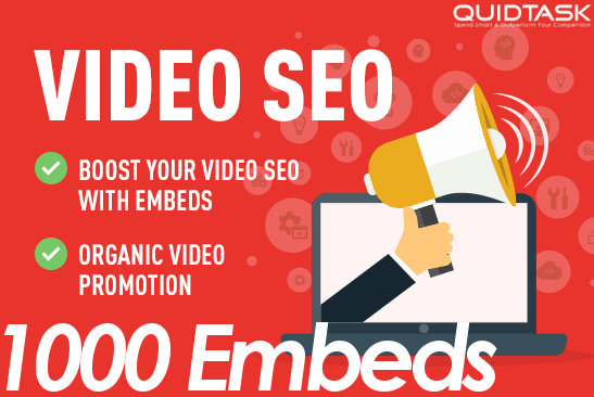300 - 1000 Video Embeds Organic Promotion that will bring organic views and likes - Video SEO and Ranking