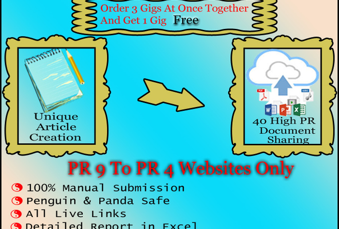 create 3 unique articles and upload to 120 high pr do...
