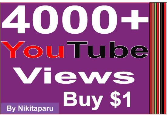 Super Fast HQ 4000+ Bonus Good retention YouTube Views