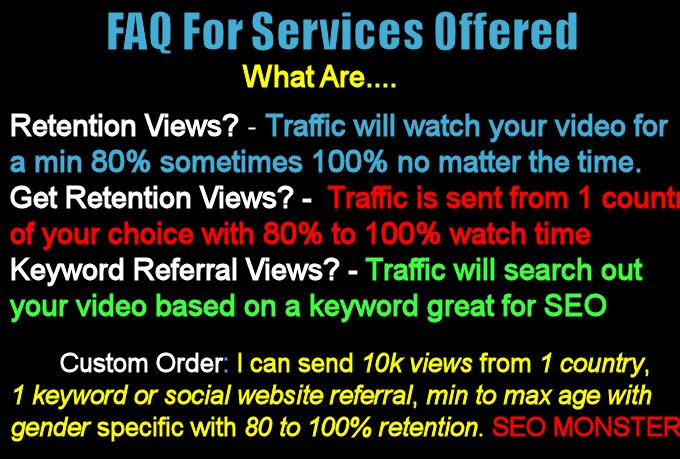 drip 1000 Full length Retention Youtube views watch time 80 to 100 percent seo