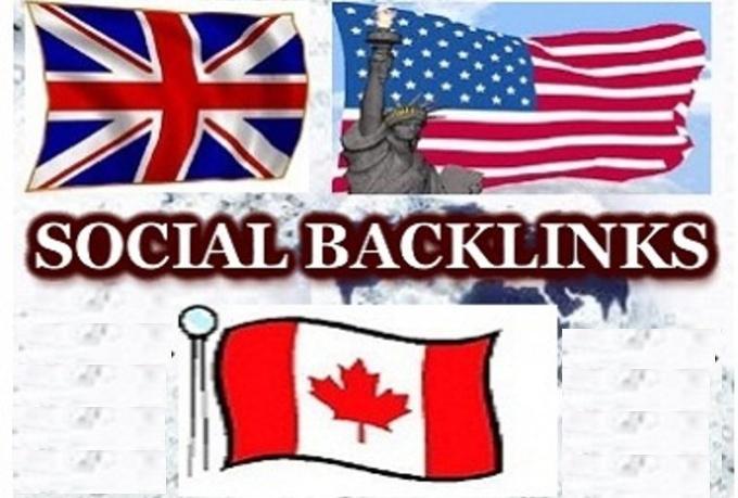 make 24 high pr USA,  UK,  AUSTRALIA social backlinks, with 10 bonus high pr backlinks Delicious,  Digg