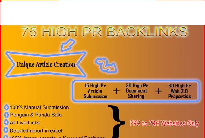 create a unique content and then create 75 high PR backlinks manually