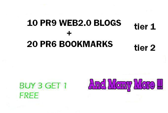 Dofollow 2 Tier Link Pyramid using 10PR8 Web2 Blogs and 20 PR6 Social Bookmarks