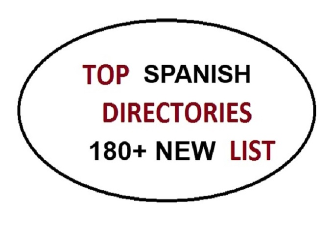 give a List of 180 High Pr SPANISH Mexico Spain Argentina Directory Backlinks