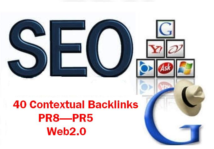 Manually create Safe Link Wheel of image video 40 Contextual Backlinks from Pr8 - Pr5 Web 2