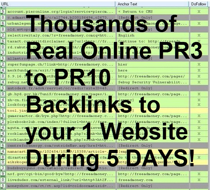 I will create thousands of Real Online PR3 to PR10 Backlinks to your 1 Website