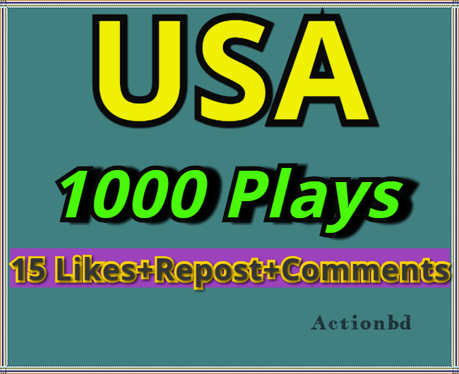 1000 Safe Soundcloud Plays + 15 Likes Reost Comments from USA Profiles