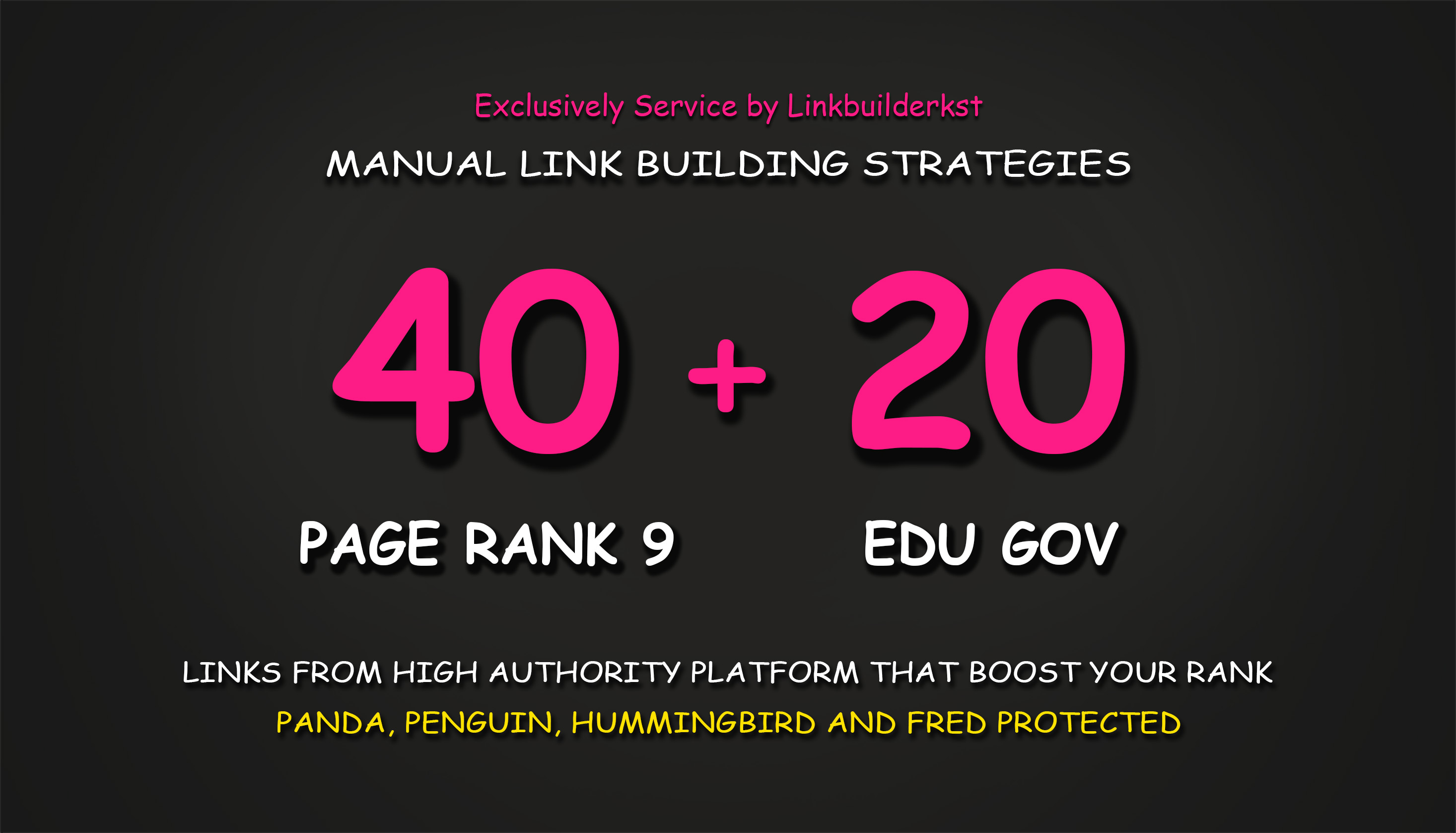 40 Pr9 + 20 Edu Gov High Trust Authority Safe SEO Backlinks