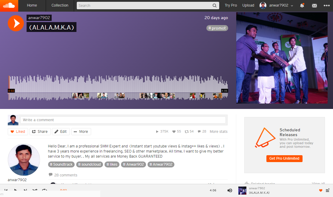 Instantly add 2000 Play and 50 likes 50 repost and 50+ Custom Comments to your track