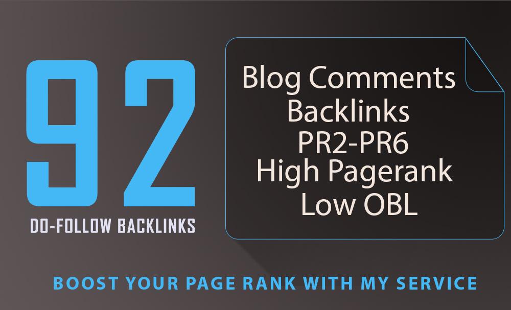 92 SEO blog comments backlinks pr2 to pr6