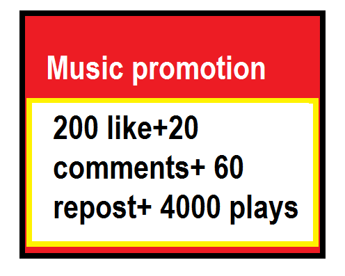 Music promotion 200 like+20 comments+ 60 repost+ 4000 plays