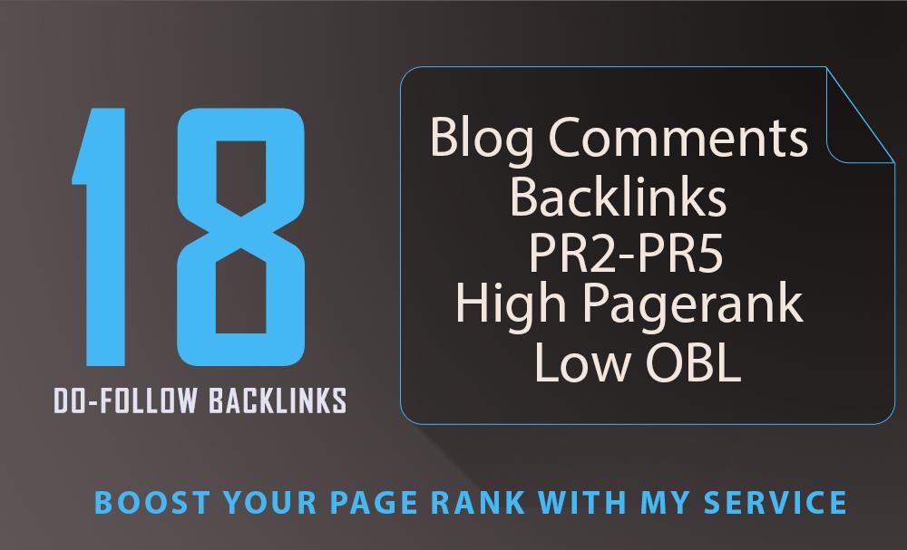 18 SEO blog comments backlinks pr2 to pr5