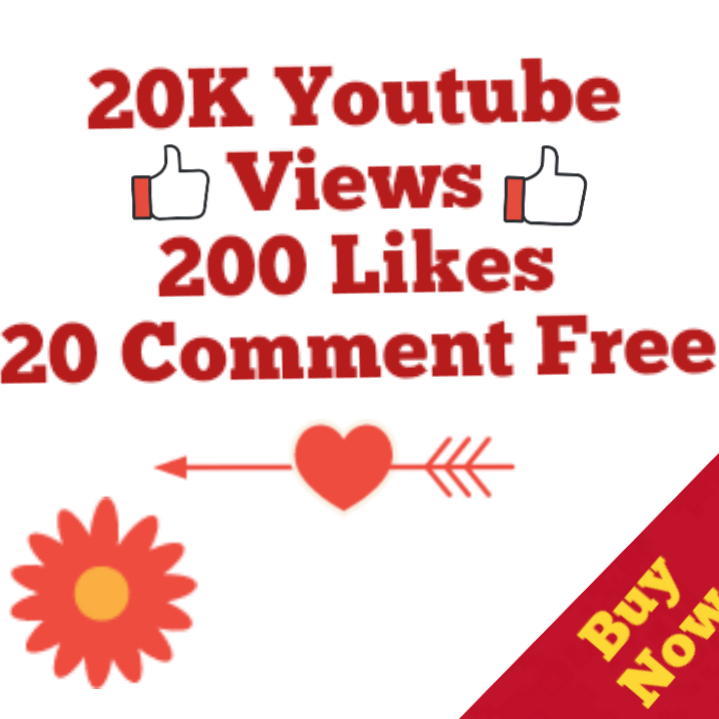 20,000 Views+200 Likes+20 Youtube Custom Comment