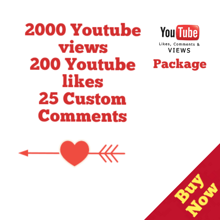 20,000 Views+200 Likes+25 Youtube Custom Comment 12/72 Hours Delivery Time
