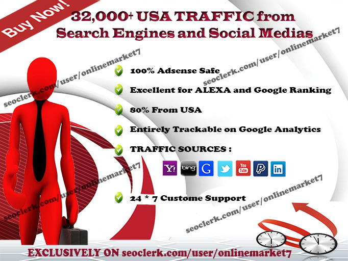 32000+ TRAFFIC from SEARCH ENGINE and SOCIAL MEDIA sites from USA