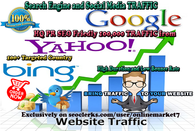 HQ 100,000 TRAFFIC with Low Bounce Rate and High Dura...